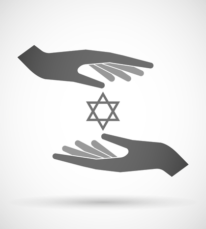 jews: Illustration of wo hands protecting or giving a David star