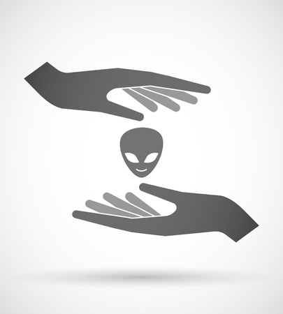 alien face: Illustration of wo hands protecting or giving an alien face
