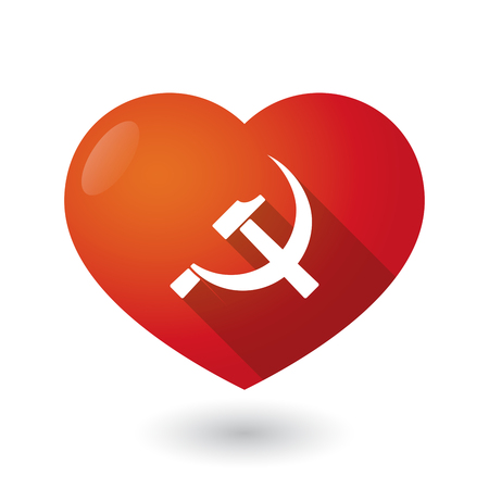 communist: Illustration of an isolated red heart with  the communist symbol
