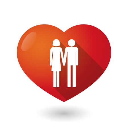 heterosexual: Illustration of an isolated red heart with a heterosexual couple pictogram