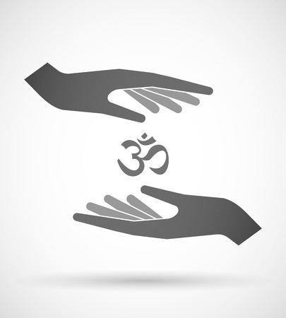 om sign: Illustration of wo hands protecting or giving an om sign