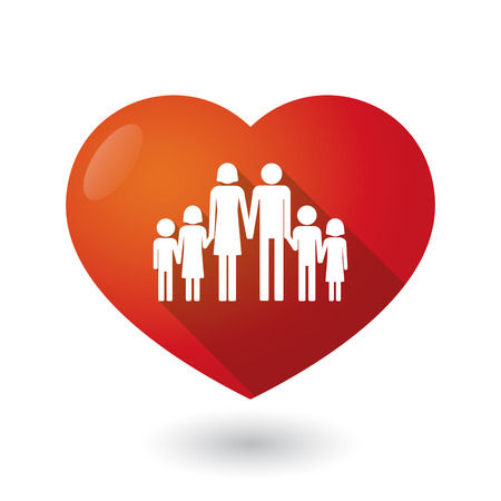 large family: Illustration of an isolated red heart with a large family  pictogram