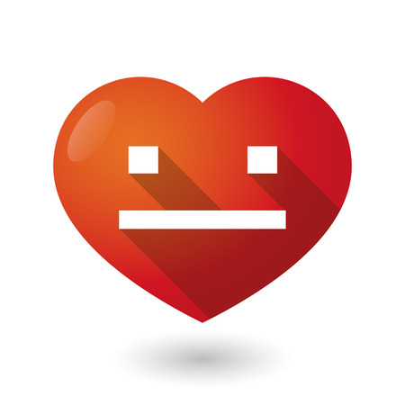 emotionless: Illustration of an isolated red heart with a emotionless text face Illustration