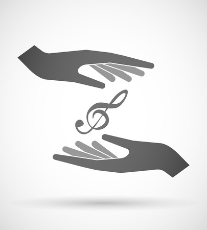 safe and sound: Illustration of wo hands protecting or giving a g clef