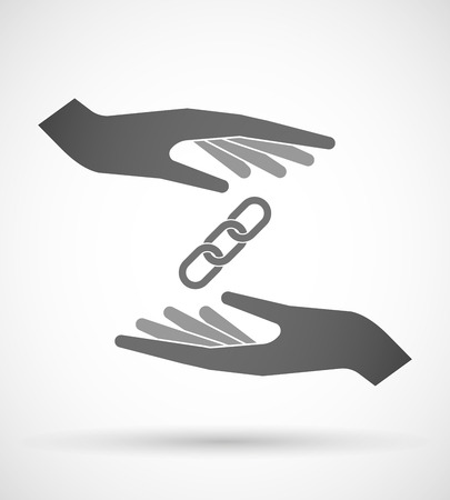 linked hands: Illustration of wo hands protecting or giving a chain