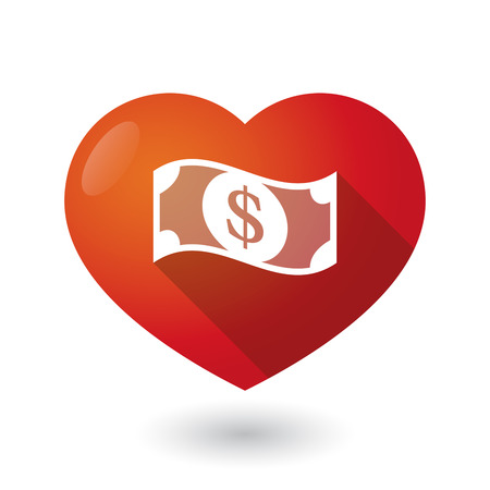 seduce: Illustration of an isolated red heart with a dollar bank note
