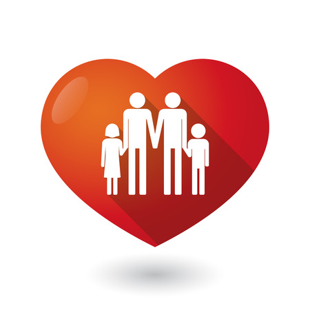 family isolated: Illustration of an isolated red heart with a gay parents  family pictogram Illustration