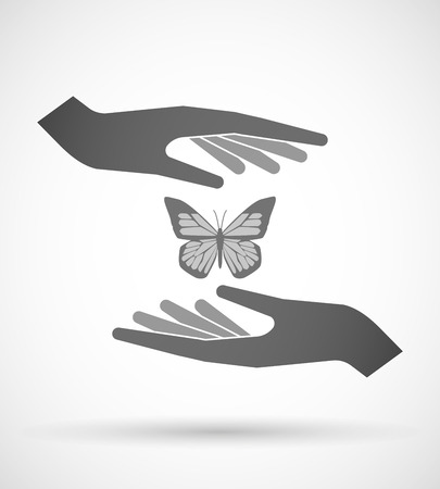 protecting: Illustration of wo hands protecting or giving a butterfly