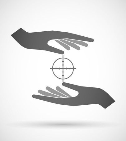Illustration of wo hands protecting or giving a crosshair