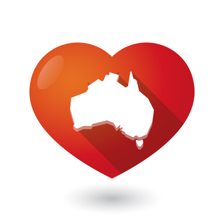 seduction: Illustration of an isolated red heart with  a map of Australia