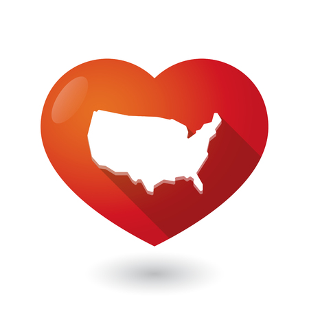 love couples: Illustration of an isolated red heart with  a map of the USA