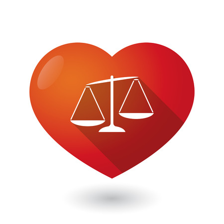 tribunal: Illustration of an isolated red heart with  an unbalanced weight scale