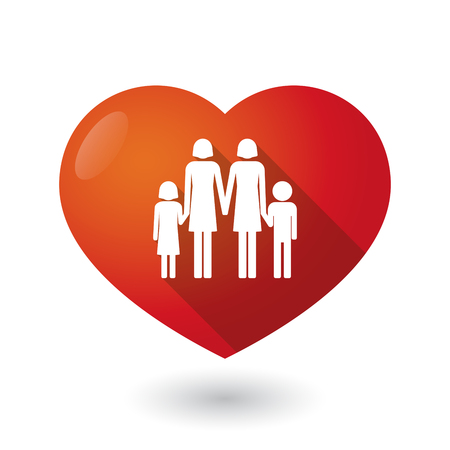 lesbian: Illustration of an isolated red heart with a lesbian parents family pictogram Illustration