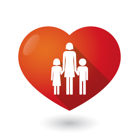 single family: Illustration of an isolated red heart with a female single parent family pictogram Illustration