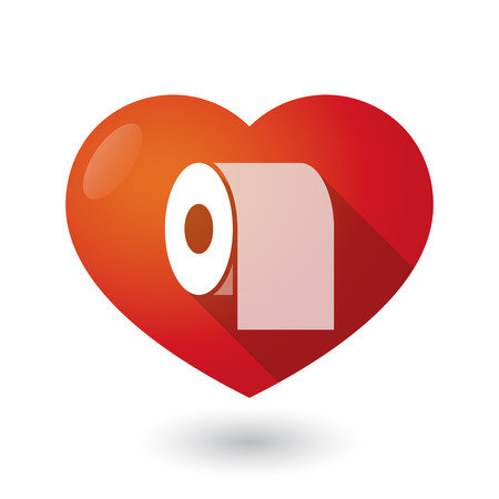 absorbent: Illustration of an isolated red heart with a toilet paper roll Illustration