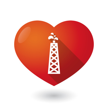 seduction: Illustration of an isolated red heart with an oil tower
