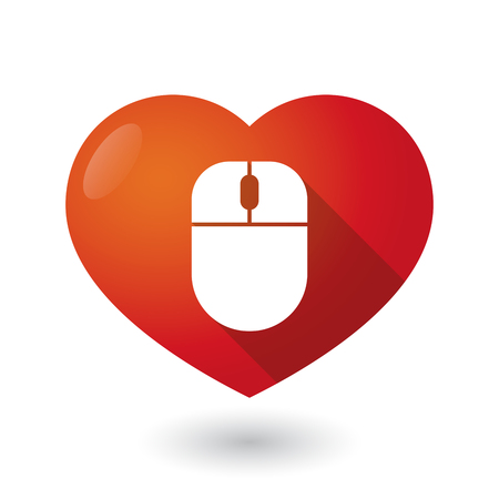 seduction: Illustration of an isolated red heart with a wireless mouse