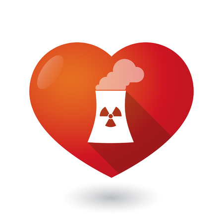 nuclear power station: Illustration of an isolated red heart with a nuclear power station