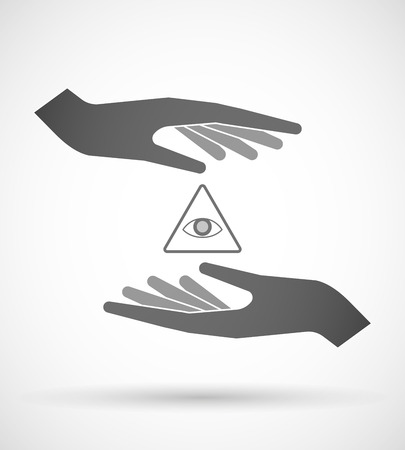 seeing: Illustration of wo hands protecting or giving an all seeing eye