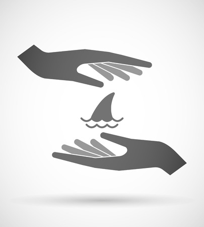 fin: Illustration of wo hands protecting or giving a shark fin