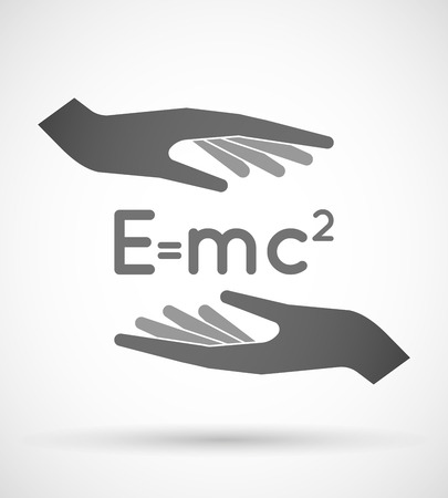 relativity: Illustration of two hands protecting or giving the Theory of Relativity formula