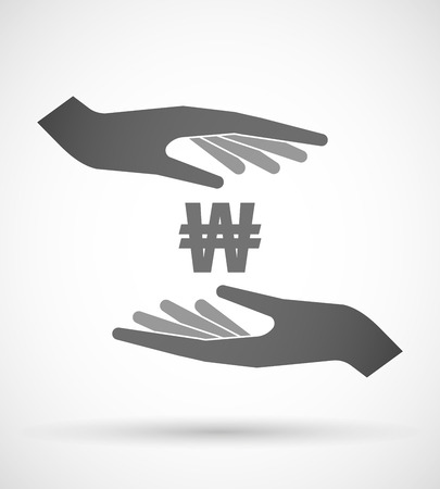 Illustration of two hands protecting or giving a won currency sign