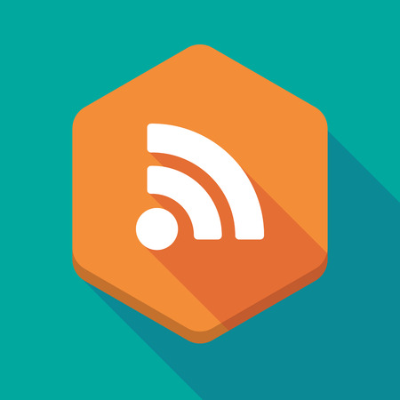 rss sign: Illustration of a long shadow hexagon icon with an RSS sign Illustration