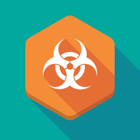 biohazard: Illustration of a long shadow hexagon icon with a biohazard sign Illustration