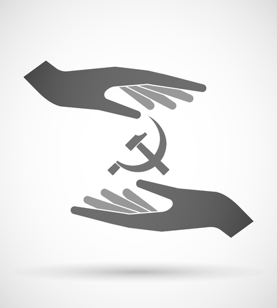 communist: Illustration of two hands protecting or giving  the communist symbol