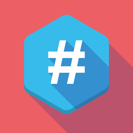 hash: Illustration of a long shadow hexagon icon with a hash tag