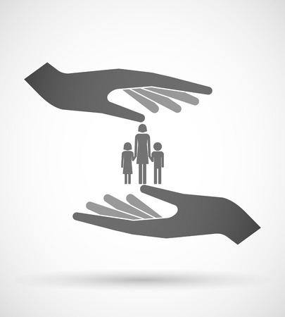 single parent: Illustration of two hands protecting or giving a female single parent family pictogram