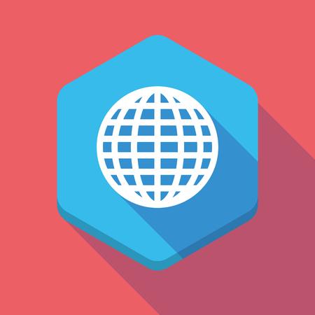 world  hexagon: Illustration of a long shadow hexagon icon with a world globe Illustration