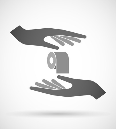 absorbent: Illustration of two hands protecting or giving a toilet paper roll
