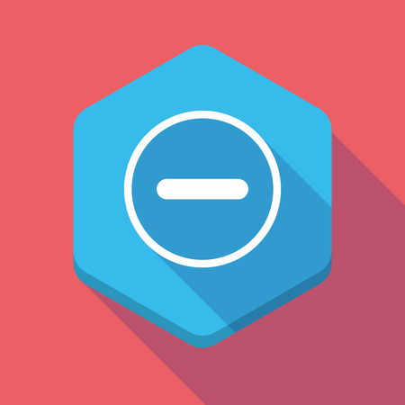subtraction: Illustration of a long shadow hexagon icon with a subtraction sign