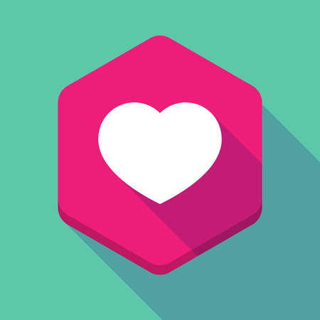 seduction: Illustration of a long shadow hexagon icon with a heart Illustration