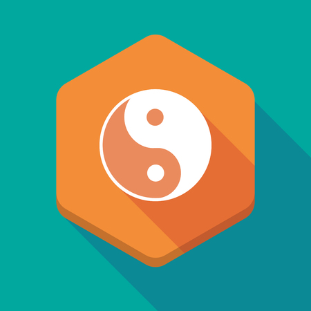 karma graphics: Illustration of a long shadow hexagon icon with a ying yang Illustration