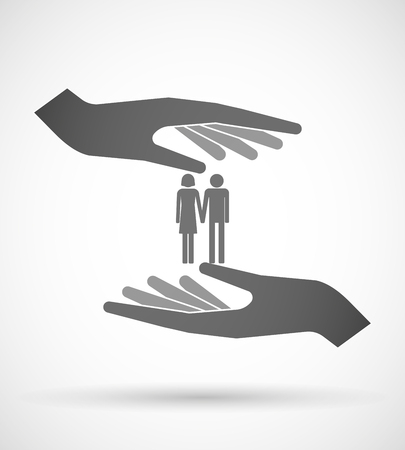 heterosexual couple: Illustration of two hands protecting or giving a heterosexual couple pictogram Illustration