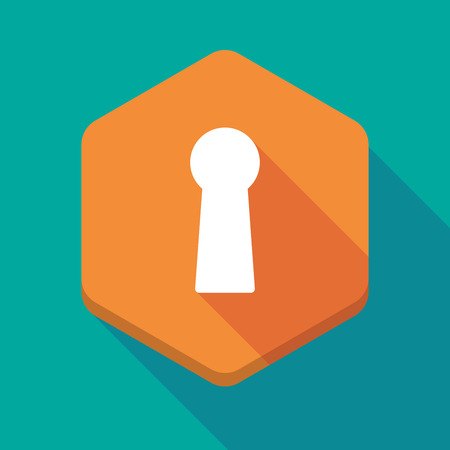 key hole: Illustration of a long shadow hexagon icon with a key hole Illustration