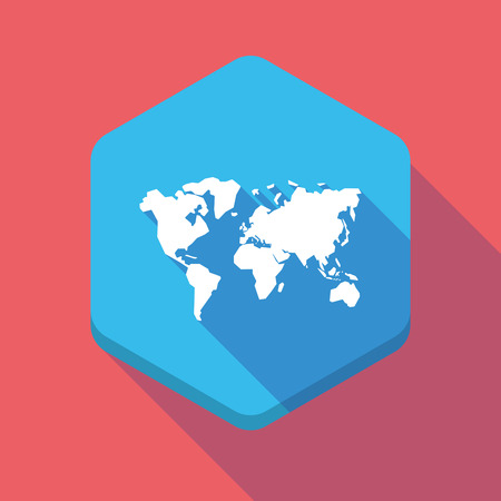 world  hexagon: Illustration of a long shadow hexagon icon with a world map Illustration