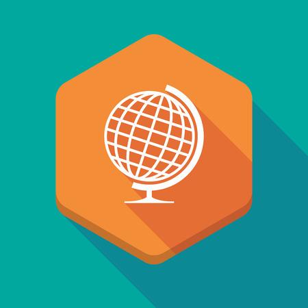 world  hexagon: Illustration of a long shadow hexagon icon with  a table world globe Illustration