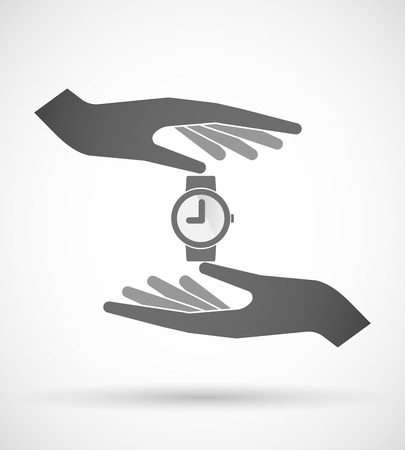 wrist hands: Illustration of two hands protecting or giving a wrist watch Illustration