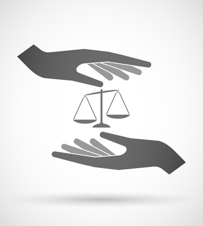 inequality: Illustration of two hands protecting or giving  an unbalanced weight scale Illustration