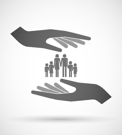 large family: Illustration of two hands protecting or giving a large family  pictogram