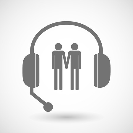 gay couple: Illustration of a remote assistance headset icon with a gay couple pictogram