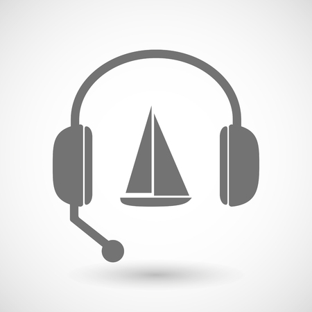 service desk: Illustration of a remote assistance headset icon with  a ship