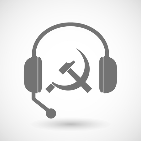 headset symbol: Illustration of a remote assistance headset icon with  the communist symbol Illustration