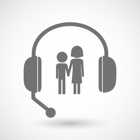 call centre girl: Illustration of a remote assistance headset icon with a childhood pictogram