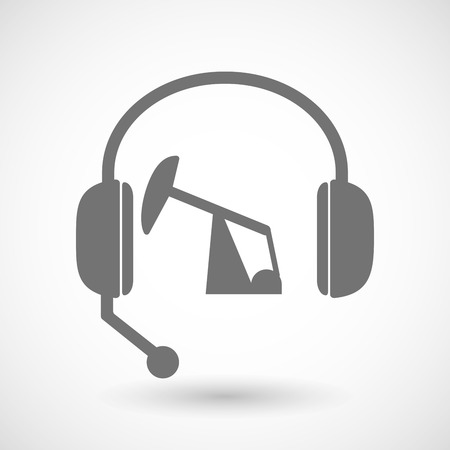 horsehead pump: Illustration of a remote assistance headset icon with a horsehead pump Illustration