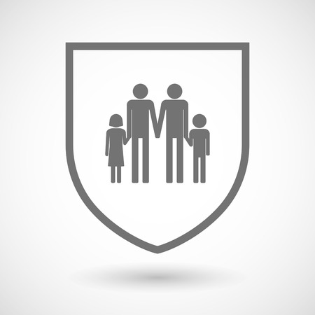 Illustration of an isolated line art shield icon with a gay parents  family pictogram
