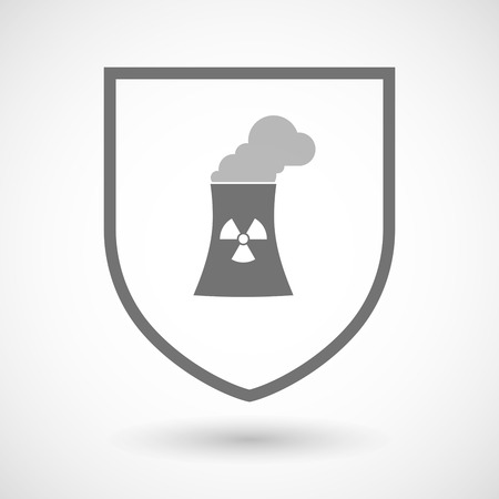 power station: Illustration of an isolated line art shield icon with a nuclear power station